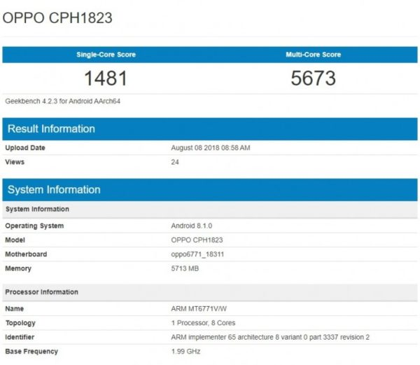 OPPO F9 arrives on Geekbench