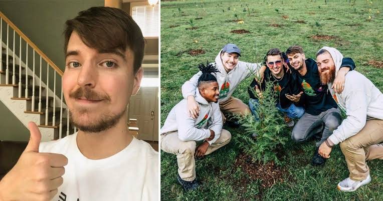 youtubers tree pledge - YouTubers join their hands together to plant 20 million trees