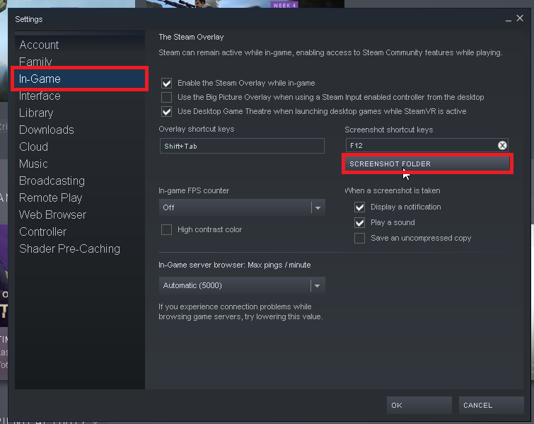 On right side under In-Game click on Screenshot Folder